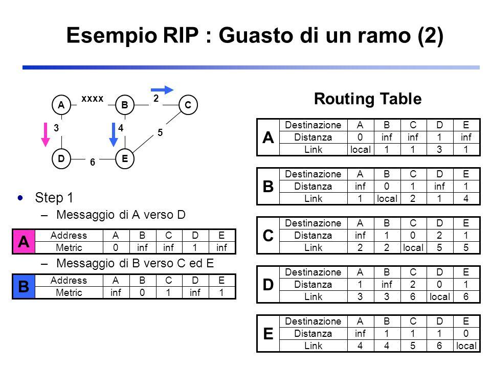 Esempio RIP : Guasto di un ramo (2) Step 1 –Messaggio di A verso D –Messaggio di B verso C ed E ABC DE 3 2 5 xxxx 6 4 A Destinazione Distanza ABCDE 0i
