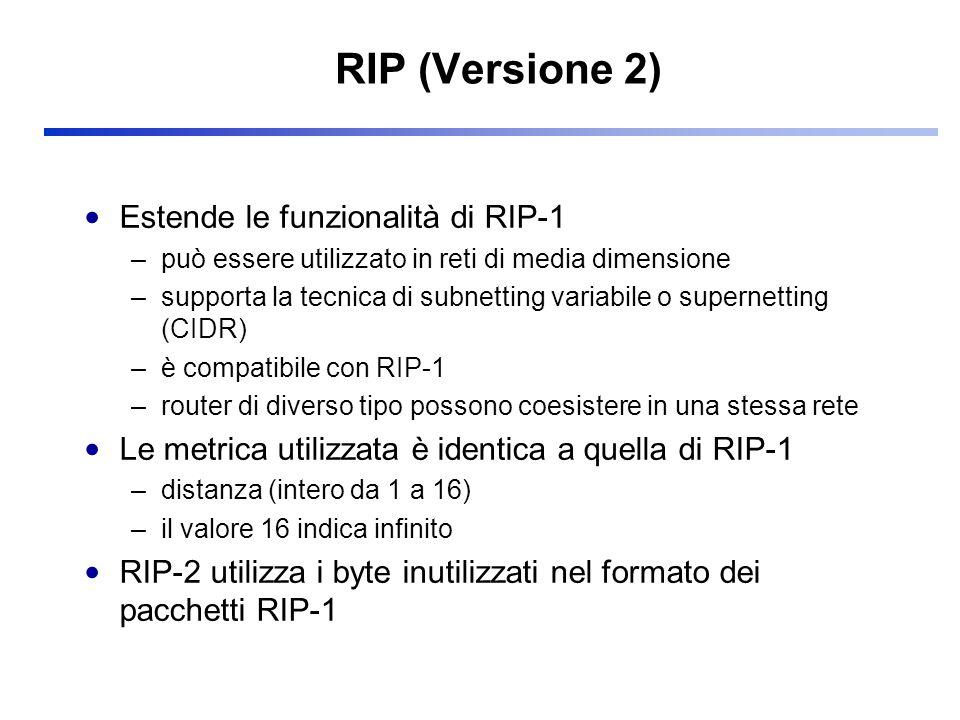RIP (Versione 2) Estende le funzionalità di RIP-1 –può essere utilizzato in reti di media dimensione –supporta la tecnica di subnetting variabile o su