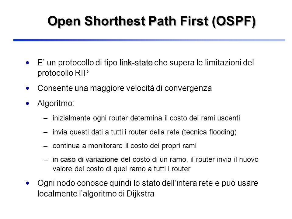 Open Shorthest Path First (OSPF) link-state E un protocollo di tipo link-state che supera le limitazioni del protocollo RIP Consente una maggiore velo