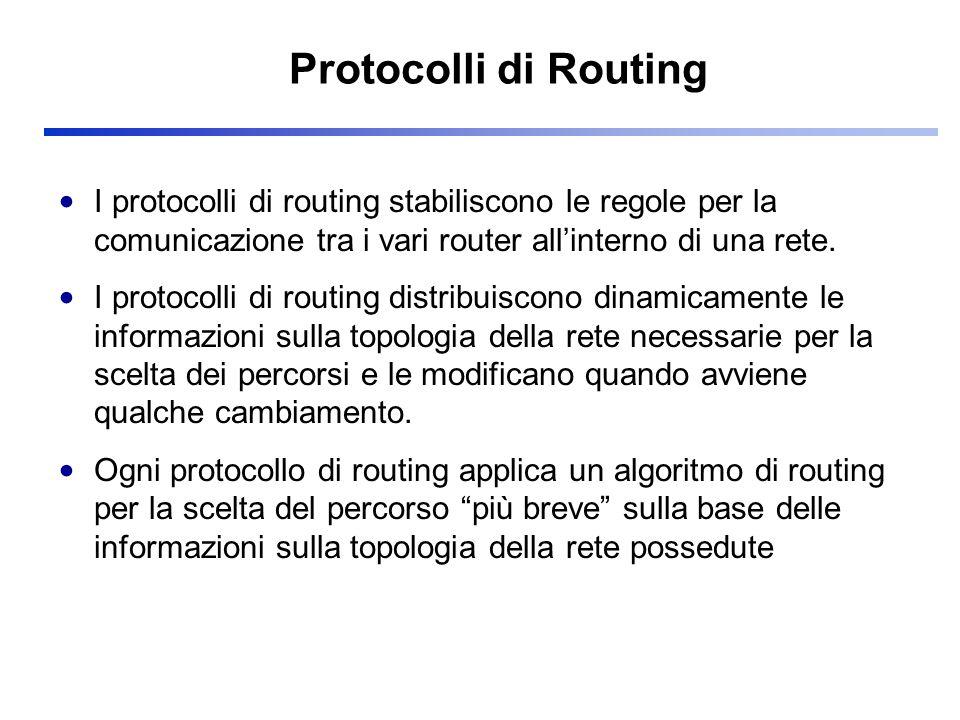 RIP: tabelle di stato Ogni router ha una tabella di stato in cui compare una riga (colonna) per ciascuna rete di cui il router sia a conoscenza Ogni riga (colonna) contiene le seguenti informazioni: –indirizzo identificativo della rete –indirizzo del primo router del percorso (next hop) –distanza dalla rete (numero minimo di reti da attraversare se metriche unitarie)