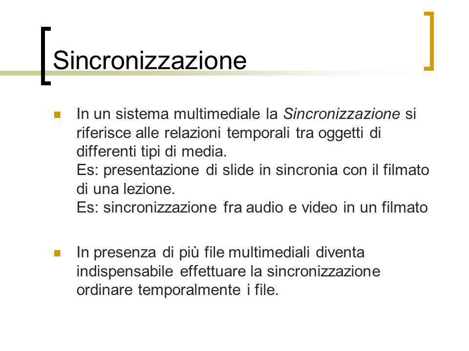 Sincronizzazione In un sistema multimediale la Sincronizzazione si riferisce alle relazioni temporali tra oggetti di differenti tipi di media. Es: pre