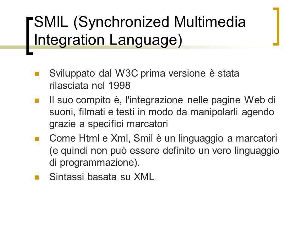 SMIL (Synchronized Multimedia Integration Language) Sviluppato dal W3C prima versione è stata rilasciata nel 1998 Il suo compito è, l'integrazione nel