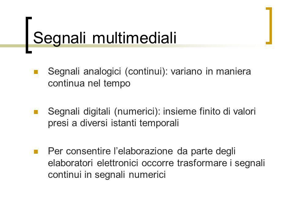 Segnali multimediali Segnali analogici (continui): variano in maniera continua nel tempo Segnali digitali (numerici): insieme finito di valori presi a