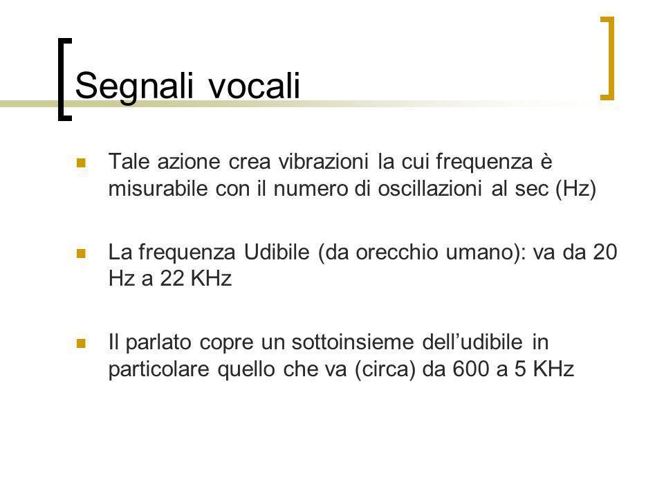 Segnali vocali Tale azione crea vibrazioni la cui frequenza è misurabile con il numero di oscillazioni al sec (Hz) La frequenza Udibile (da orecchio u