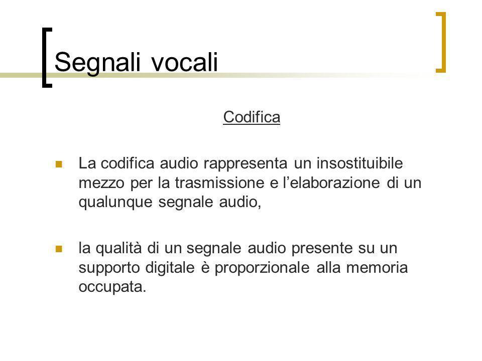 Segnali vocali Codifica La codifica audio rappresenta un insostituibile mezzo per la trasmissione e lelaborazione di un qualunque segnale audio, la qu