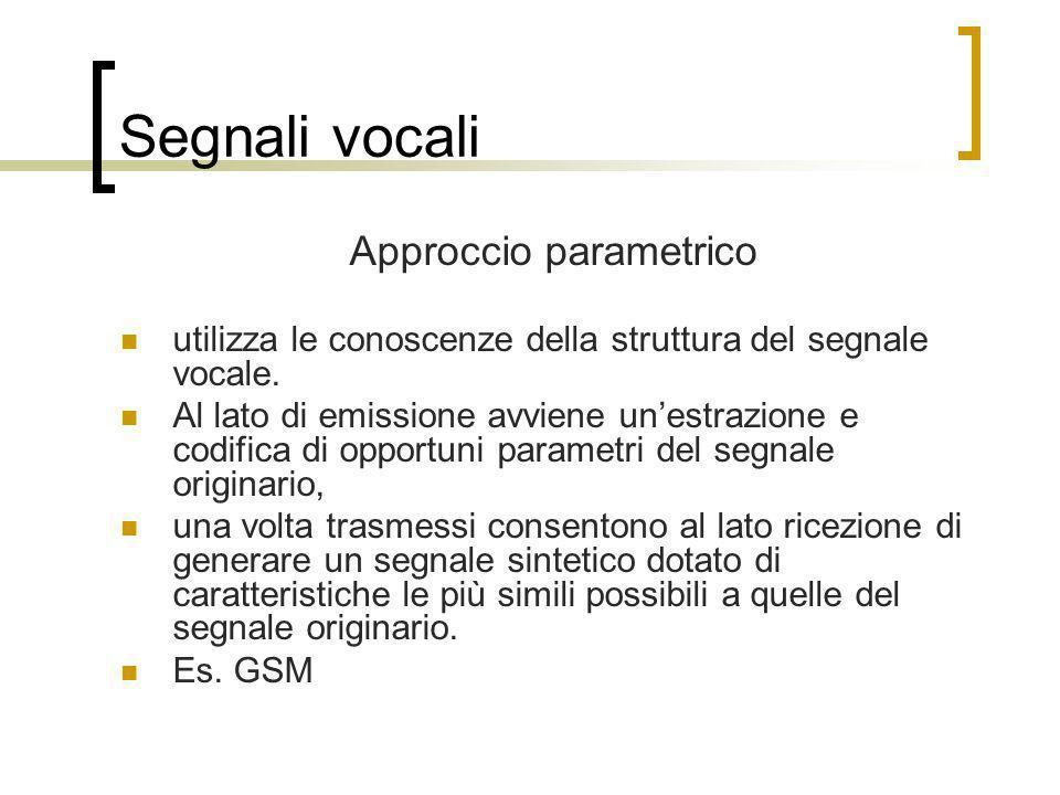 Segnali vocali Approccio parametrico utilizza le conoscenze della struttura del segnale vocale. Al lato di emissione avviene unestrazione e codifica d