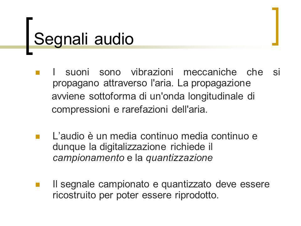 Segnali audio I suoni sono vibrazioni meccaniche che si propagano attraverso l'aria. La propagazione avviene sottoforma di un'onda longitudinale di co