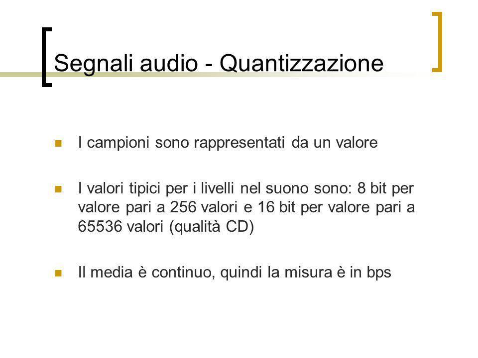 Segnali audio - Quantizzazione I campioni sono rappresentati da un valore I valori tipici per i livelli nel suono sono: 8 bit per valore pari a 256 va