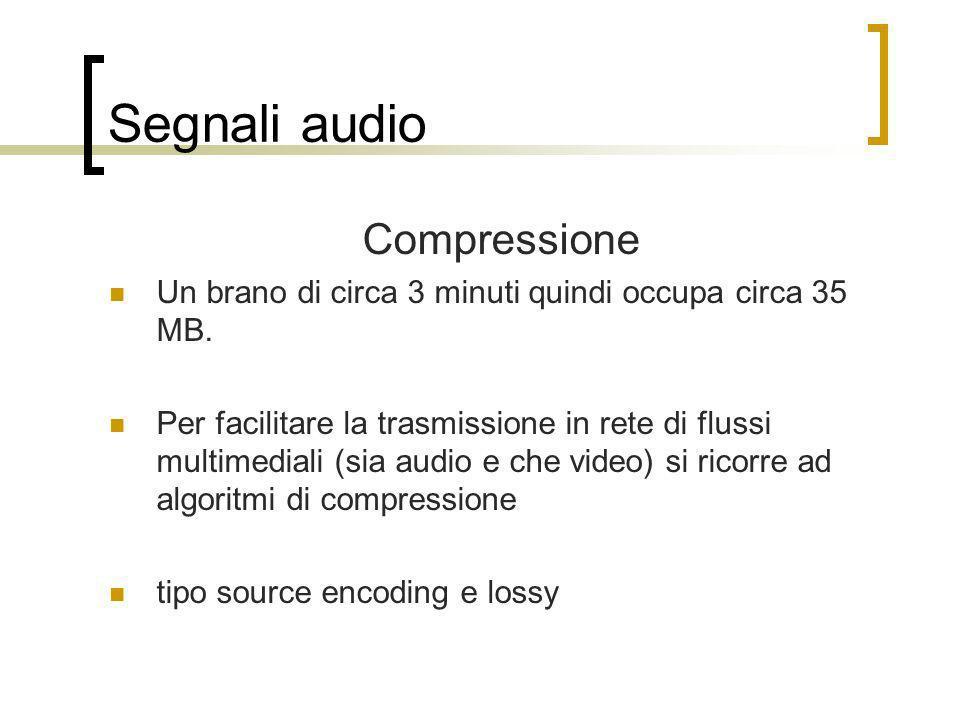Segnali audio Compressione Un brano di circa 3 minuti quindi occupa circa 35 MB. Per facilitare la trasmissione in rete di flussi multimediali (sia au