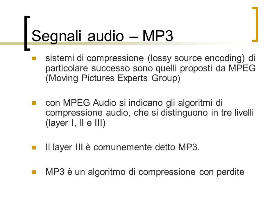 Segnali audio – MP3 sistemi di compressione (lossy source encoding) di particolare successo sono quelli proposti da MPEG (Moving Pictures Experts Grou