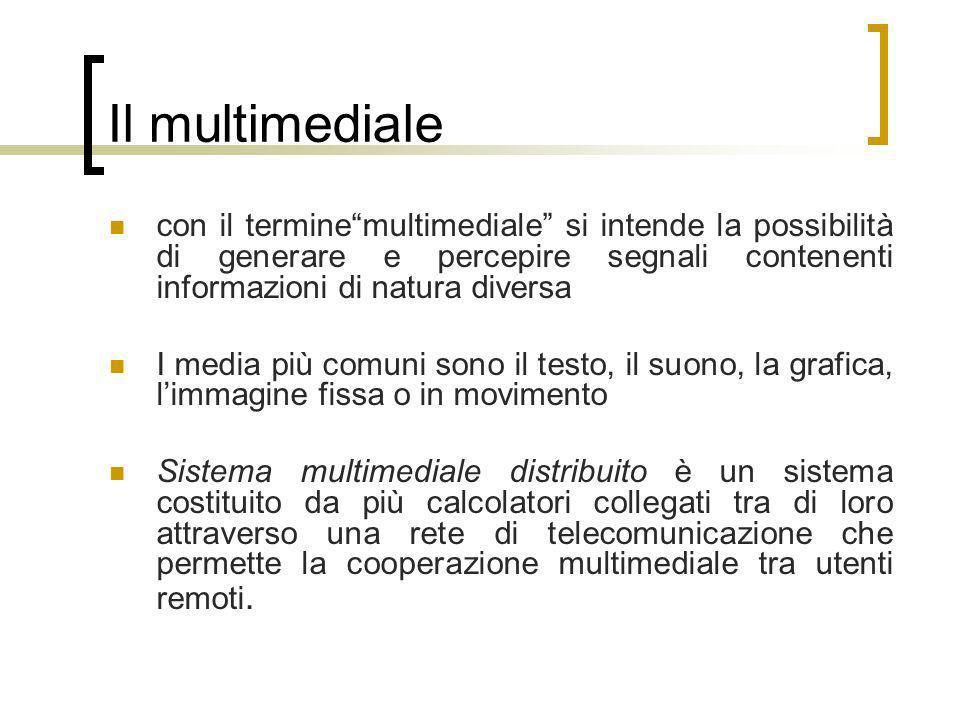 Il multimediale con il terminemultimediale si intende la possibilità di generare e percepire segnali contenenti informazioni di natura diversa I media