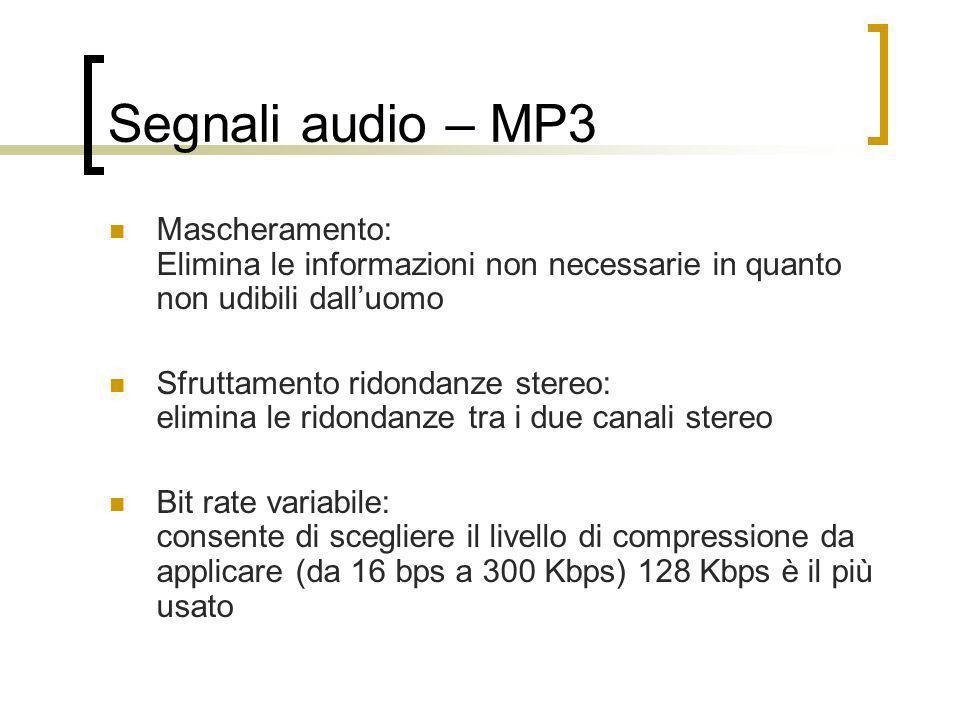 Segnali audio – MP3 Mascheramento: Elimina le informazioni non necessarie in quanto non udibili dalluomo Sfruttamento ridondanze stereo: elimina le ri