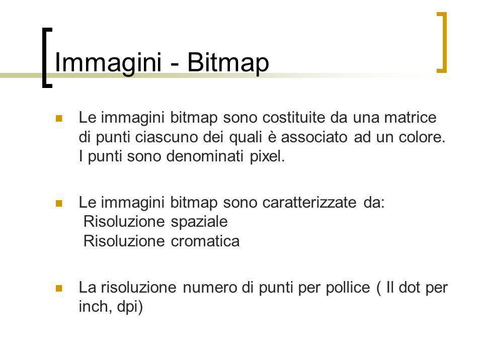 Immagini - Bitmap Le immagini bitmap sono costituite da una matrice di punti ciascuno dei quali è associato ad un colore. I punti sono denominati pixe