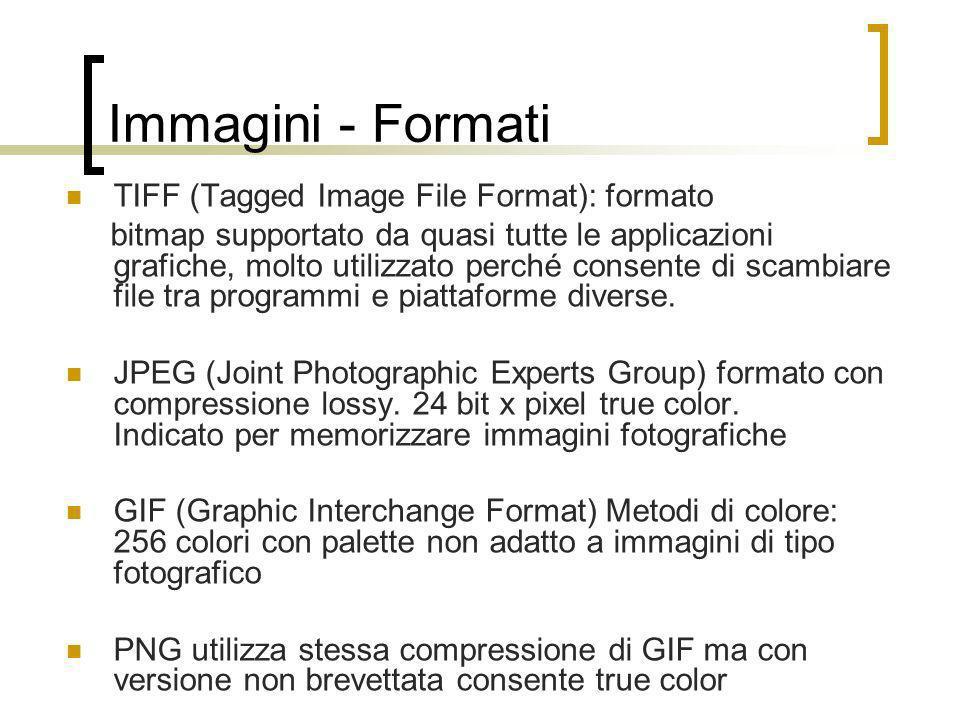 Immagini - Formati TIFF (Tagged Image File Format): formato bitmap supportato da quasi tutte le applicazioni grafiche, molto utilizzato perché consent