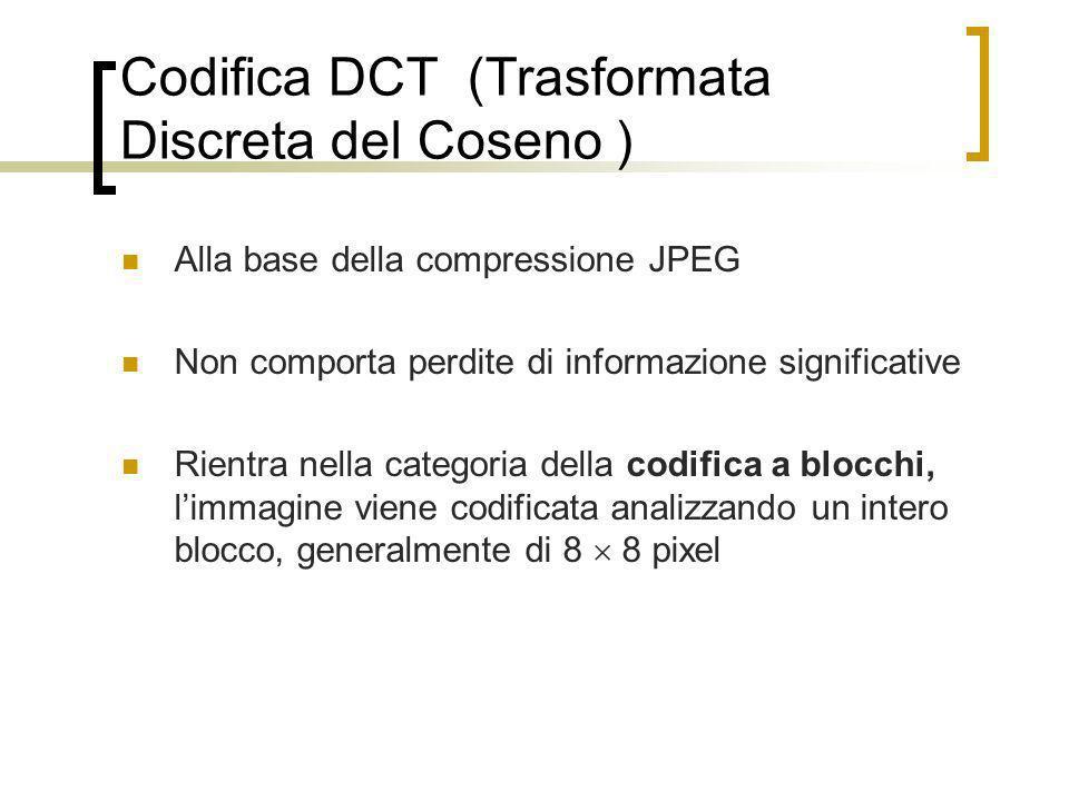 Codifica DCT (Trasformata Discreta del Coseno ) Alla base della compressione JPEG Non comporta perdite di informazione significative Rientra nella cat