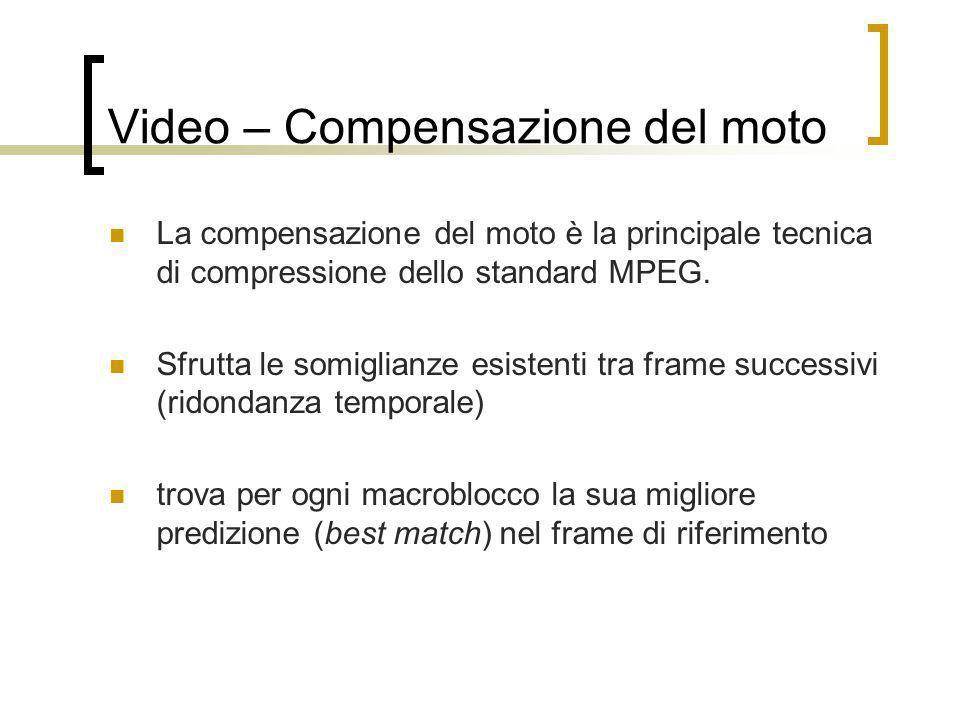 Video – Compensazione del moto La compensazione del moto è la principale tecnica di compressione dello standard MPEG. Sfrutta le somiglianze esistenti
