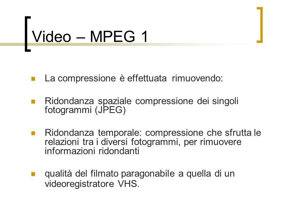 Video – MPEG 1 La compressione è effettuata rimuovendo: Ridondanza spaziale compressione dei singoli fotogrammi (JPEG) Ridondanza temporale: compressi
