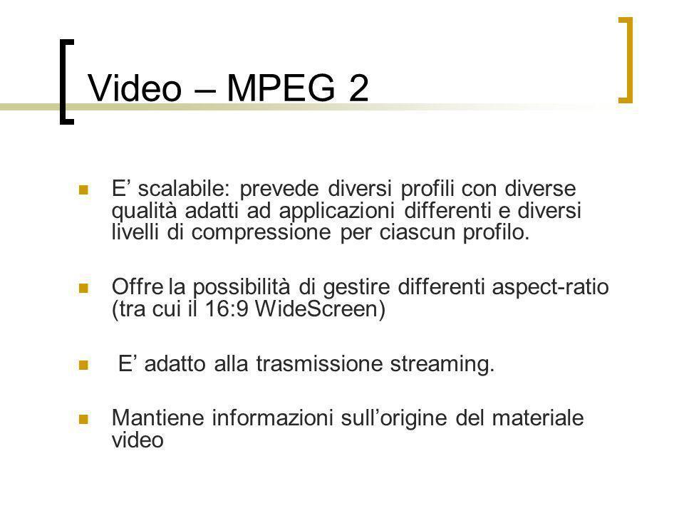 Video – MPEG 2 E scalabile: prevede diversi profili con diverse qualità adatti ad applicazioni differenti e diversi livelli di compressione per ciascu