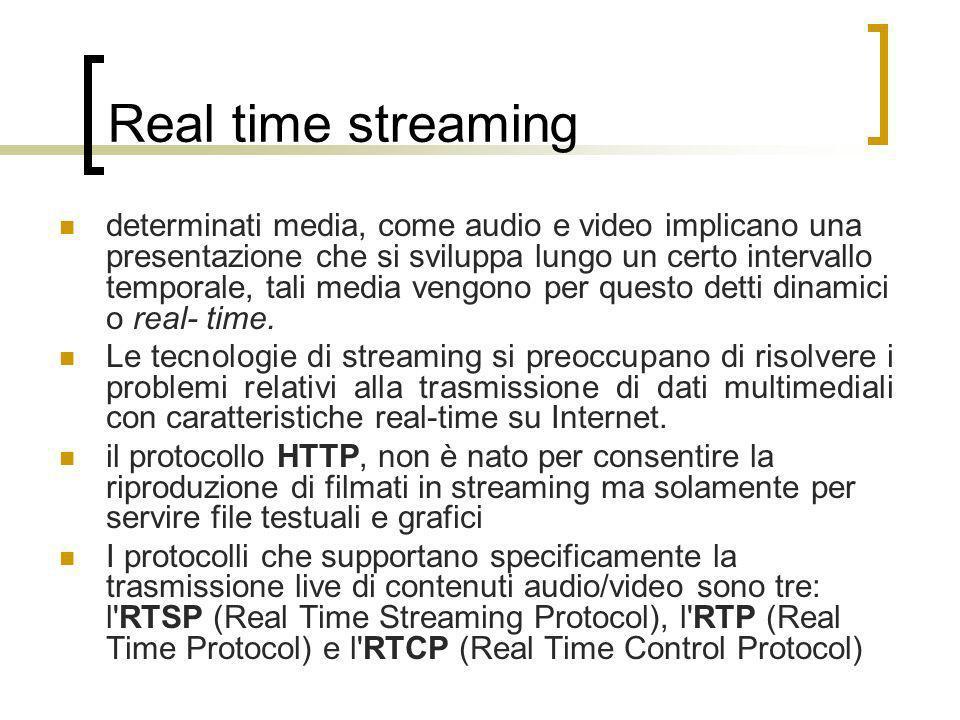 Real time streaming determinati media, come audio e video implicano una presentazione che si sviluppa lungo un certo intervallo temporale, tali media