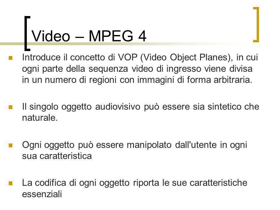 Video – MPEG 4 Introduce il concetto di VOP (Video Object Planes), in cui ogni parte della sequenza video di ingresso viene divisa in un numero di reg