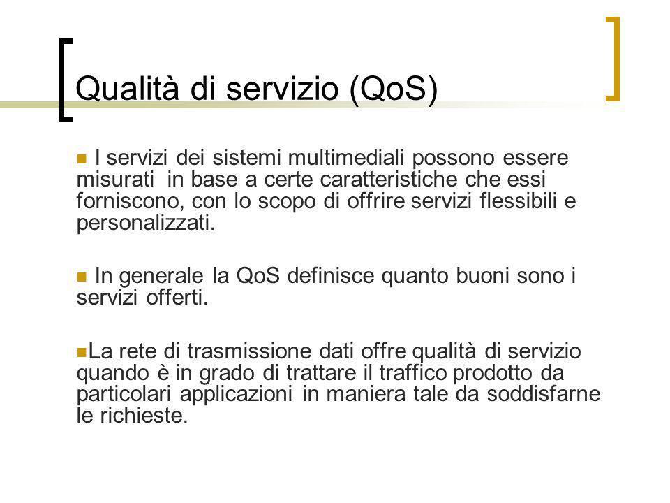 Qualità di servizio (QoS) I servizi dei sistemi multimediali possono essere misurati in base a certe caratteristiche che essi forniscono, con lo scopo