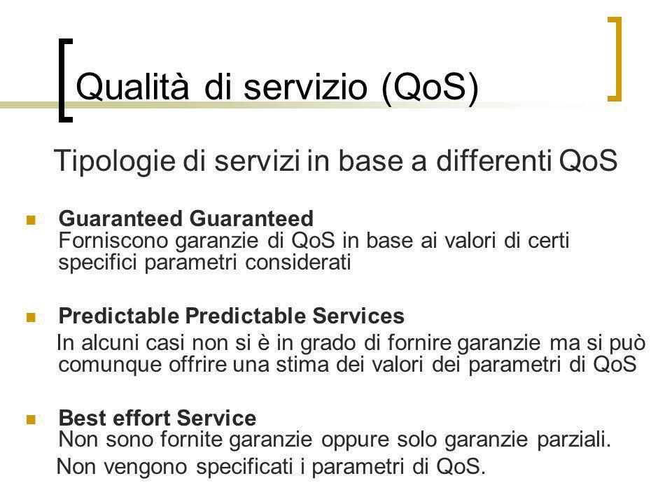 Qualità di servizio (QoS) Tipologie di servizi in base a differenti QoS Guaranteed Guaranteed Forniscono garanzie di QoS in base ai valori di certi sp