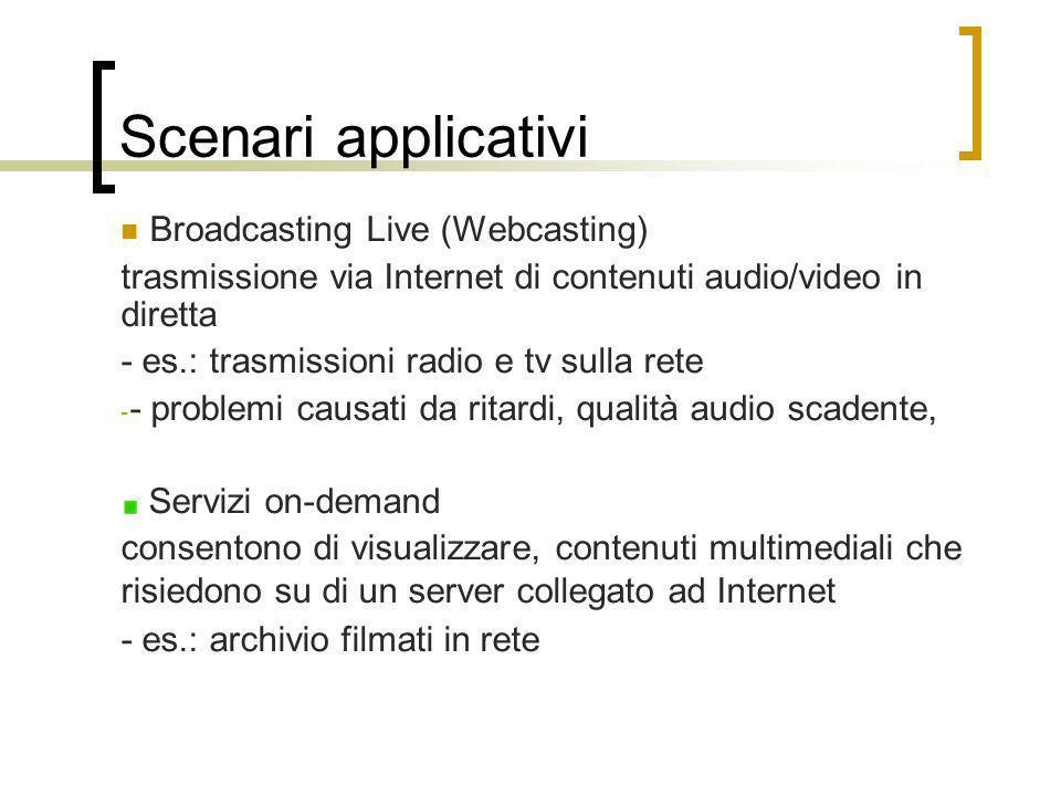 Scenari applicativi Broadcasting Live (Webcasting) trasmissione via Internet di contenuti audio/video in diretta - es.: trasmissioni radio e tv sulla