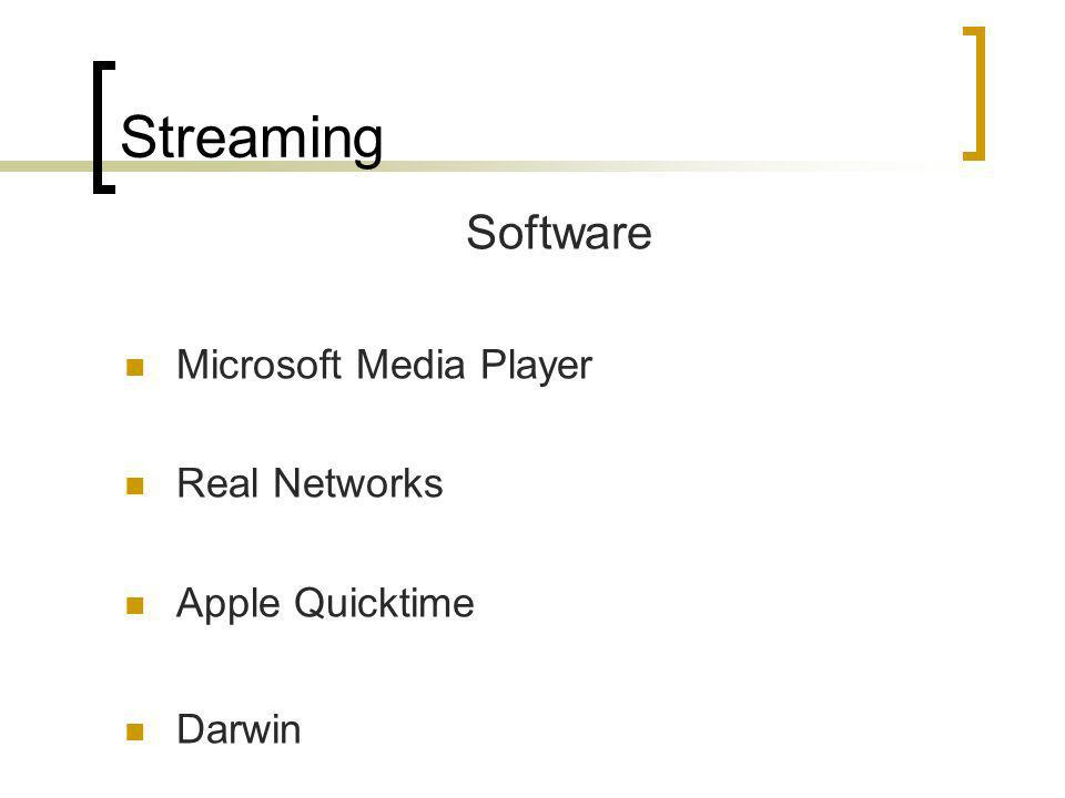 Streaming Software Microsoft Media Player Real Networks Apple Quicktime Darwin