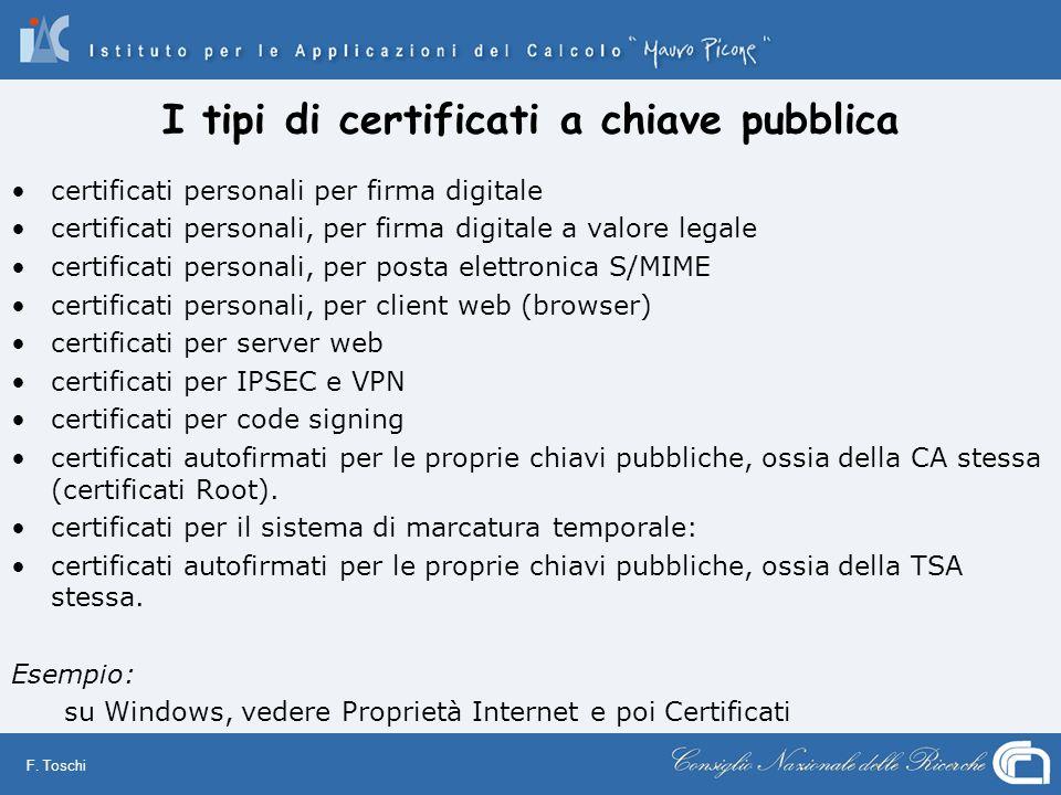 F. Toschi I tipi di certificati a chiave pubblica certificati personali per firma digitale certificati personali, per firma digitale a valore legale c