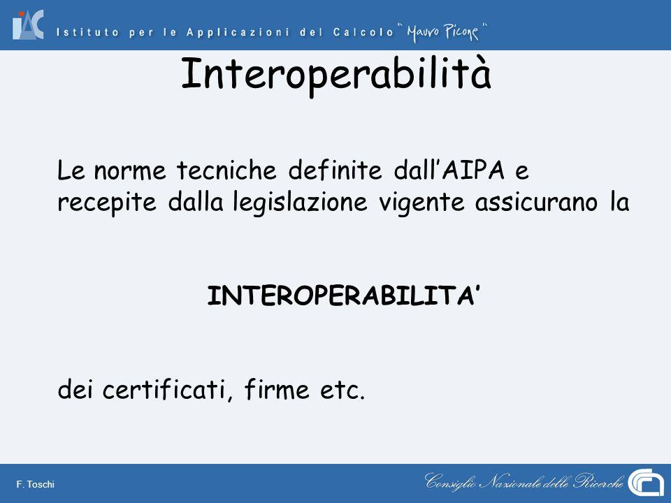 F. Toschi Interoperabilità Le norme tecniche definite dallAIPA e recepite dalla legislazione vigente assicurano la INTEROPERABILITA dei certificati, f