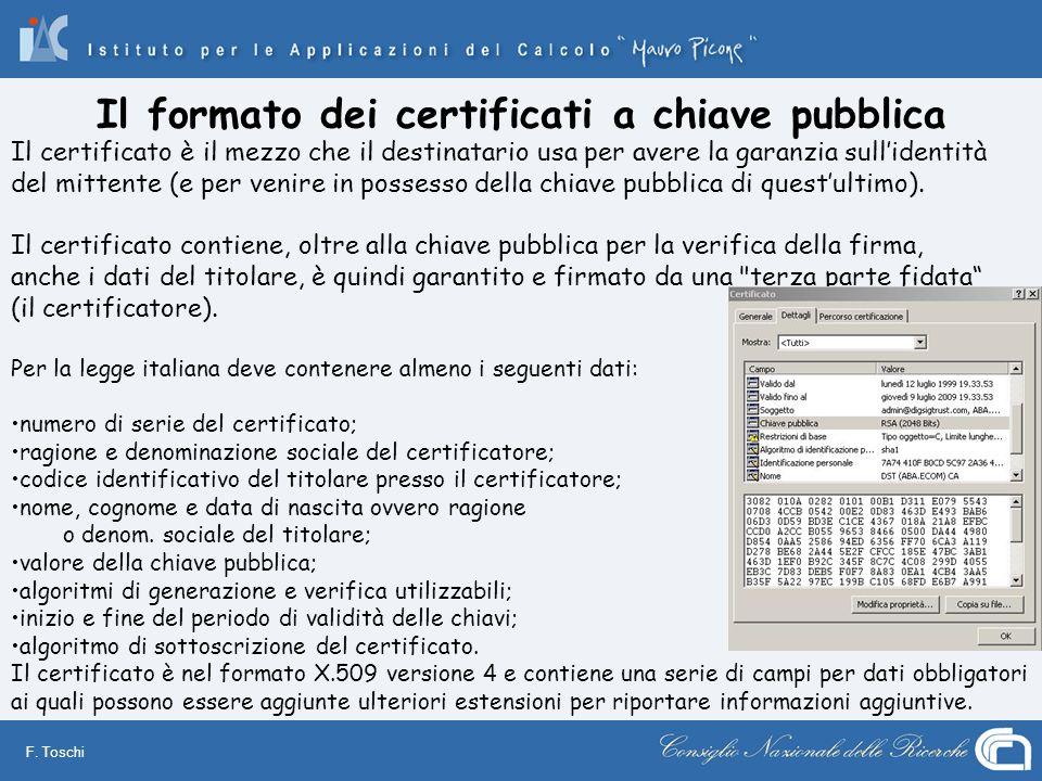 F. Toschi Il certificato è il mezzo che il destinatario usa per avere la garanzia sullidentità del mittente (e per venire in possesso della chiave pub