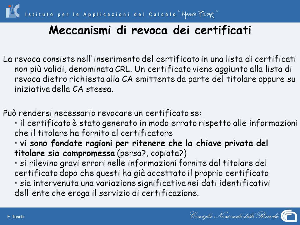 F. Toschi Meccanismi di revoca dei certificati La revoca consiste nell'inserimento del certificato in una lista di certificati non più validi, denomin