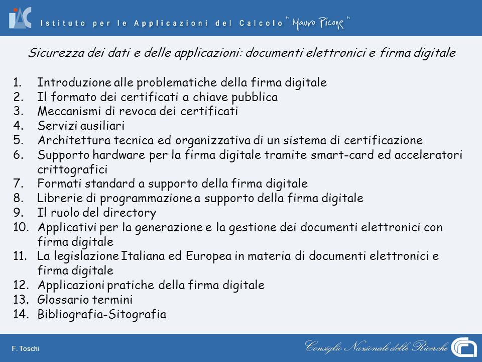 F. Toschi 1.Introduzione alle problematiche della firma digitale 2.Il formato dei certificati a chiave pubblica 3.Meccanismi di revoca dei certificati