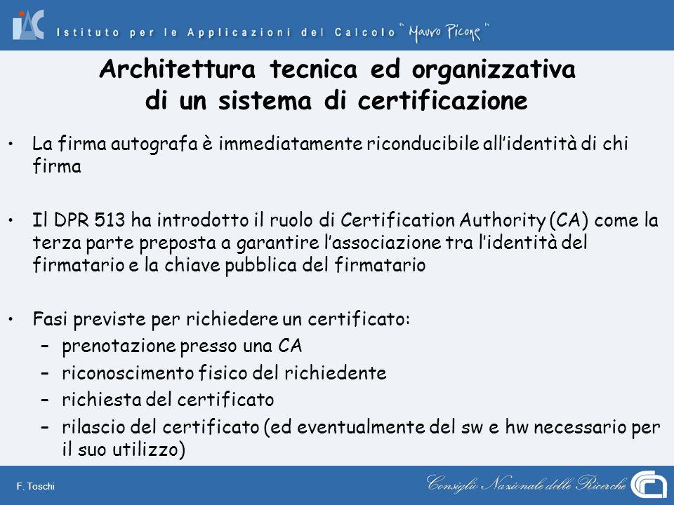 F. Toschi Architettura tecnica ed organizzativa di un sistema di certificazione La firma autografa è immediatamente riconducibile allidentità di chi f