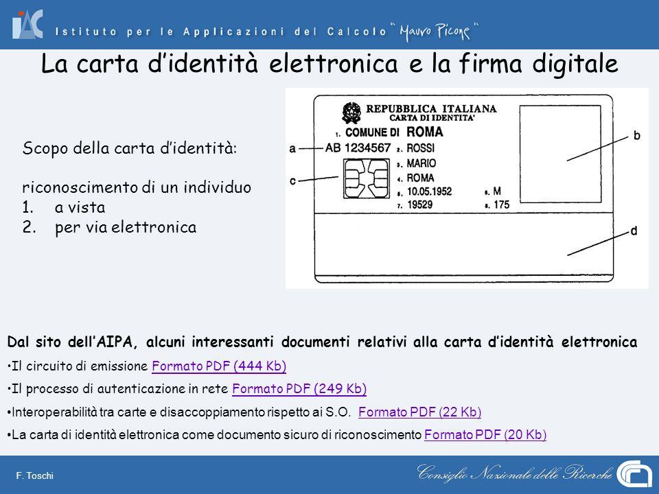 F. Toschi La carta didentità elettronica e la firma digitale Dal sito dellAIPA, alcuni interessanti documenti relativi alla carta didentità elettronic
