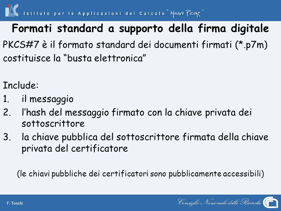 F. Toschi Formati standard a supporto della firma digitale PKCS#7 è il formato standard dei documenti firmati (*.p7m) costituisce la busta elettronica