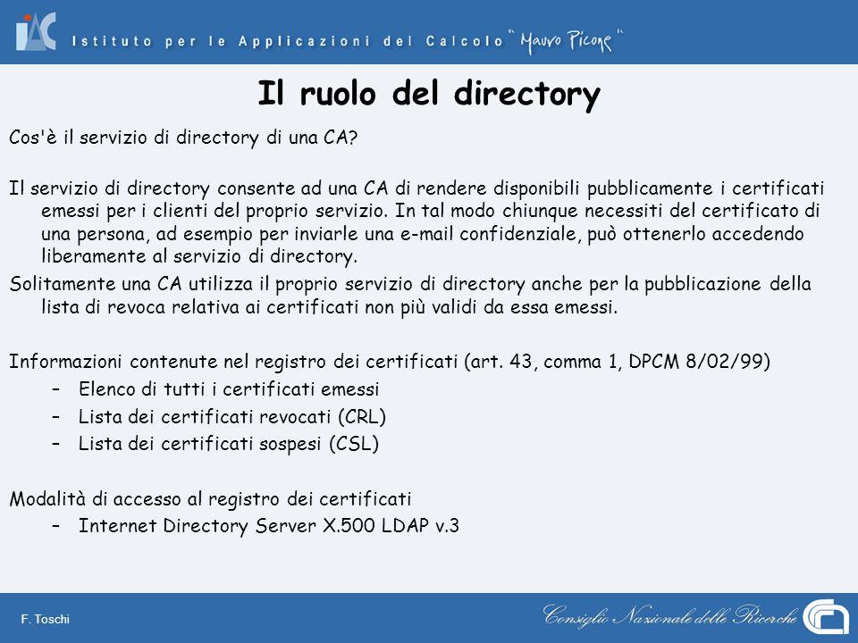 F. Toschi Il ruolo del directory Cos'è il servizio di directory di una CA? Il servizio di directory consente ad una CA di rendere disponibili pubblica
