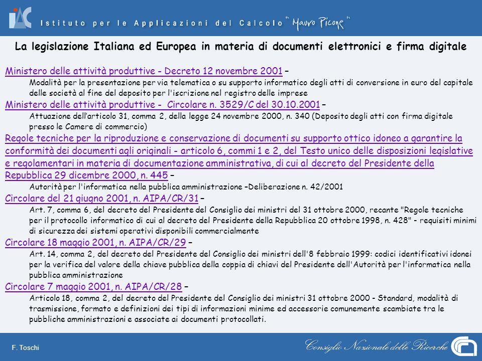 F. Toschi Ministero delle attività produttive - Decreto 12 novembre 2001Ministero delle attività produttive - Decreto 12 novembre 2001 – Modalità per