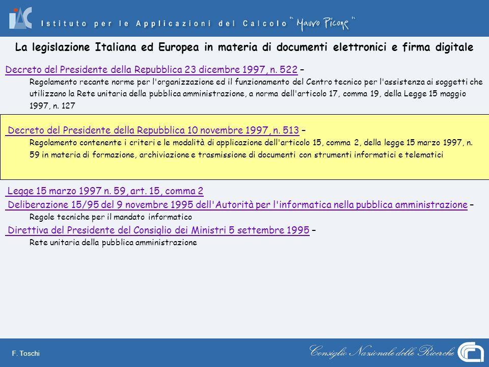 F. Toschi Decreto del Presidente della Repubblica 23 dicembre 1997, n. 522Decreto del Presidente della Repubblica 23 dicembre 1997, n. 522 – Regolamen