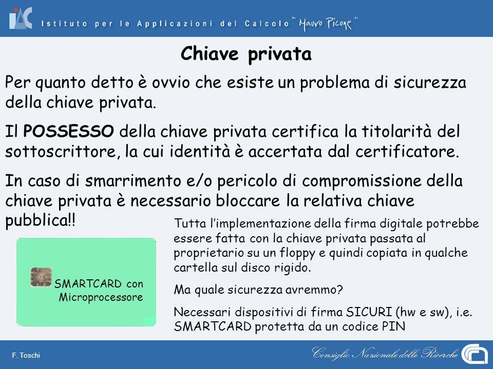 F. Toschi Chiave privata SMARTCARD con Microprocessore Per quanto detto è ovvio che esiste un problema di sicurezza della chiave privata. Il POSSESSO