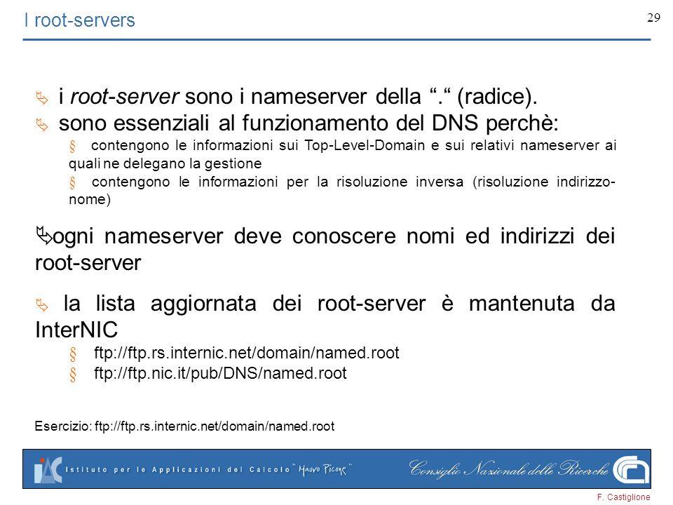 F. Castiglione 29 I root-servers i root-server sono i nameserver della. (radice). sono essenziali al funzionamento del DNS perchè: contengono le infor