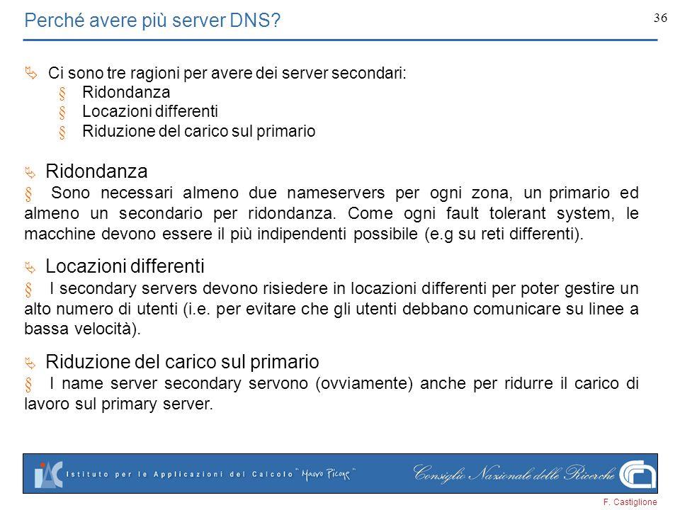 F. Castiglione 36 Perché avere più server DNS? Ci sono tre ragioni per avere dei server secondari: Ridondanza Locazioni differenti Riduzione del caric