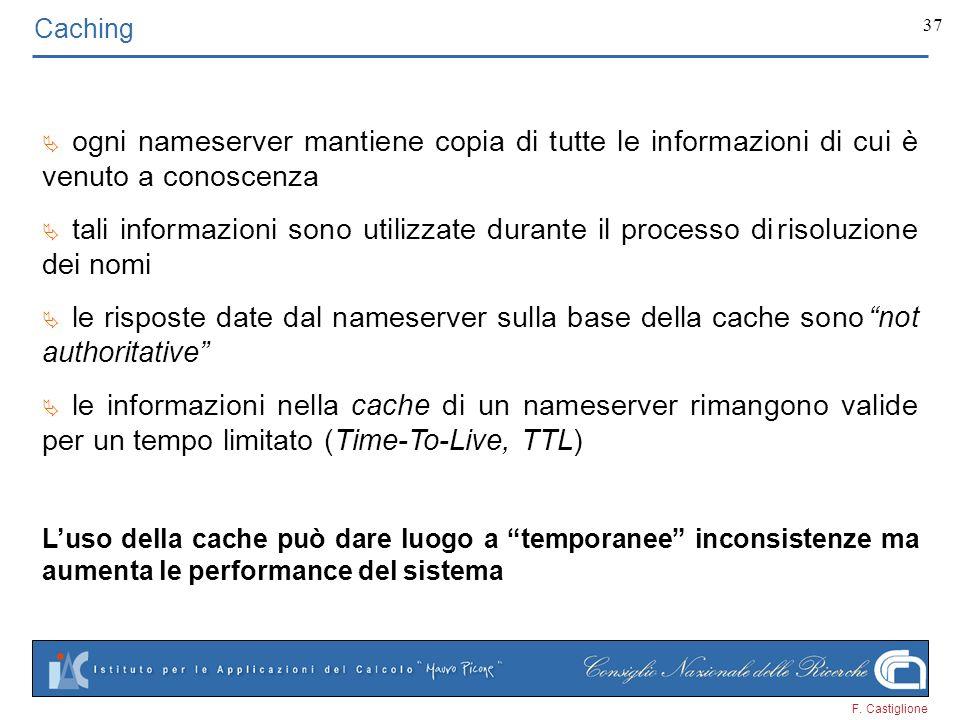 F. Castiglione 37 Caching ogni nameserver mantiene copia di tutte le informazioni di cui è venuto a conoscenza tali informazioni sono utilizzate duran