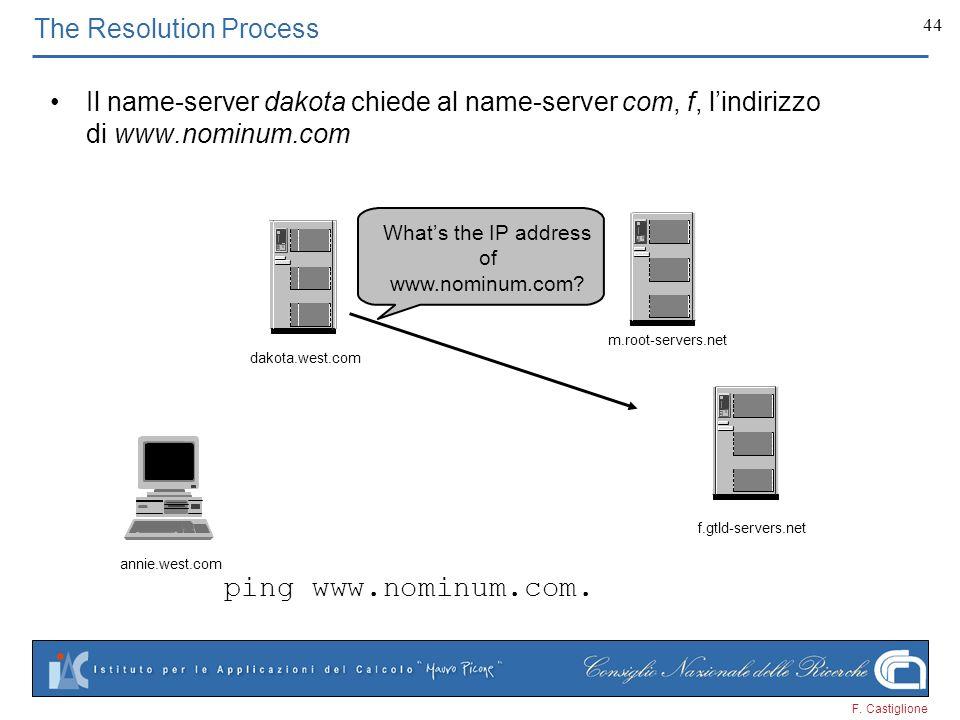 F. Castiglione 44 The Resolution Process Il name-server dakota chiede al name-server com, f, lindirizzo di www.nominum.com ping www.nominum.com. annie
