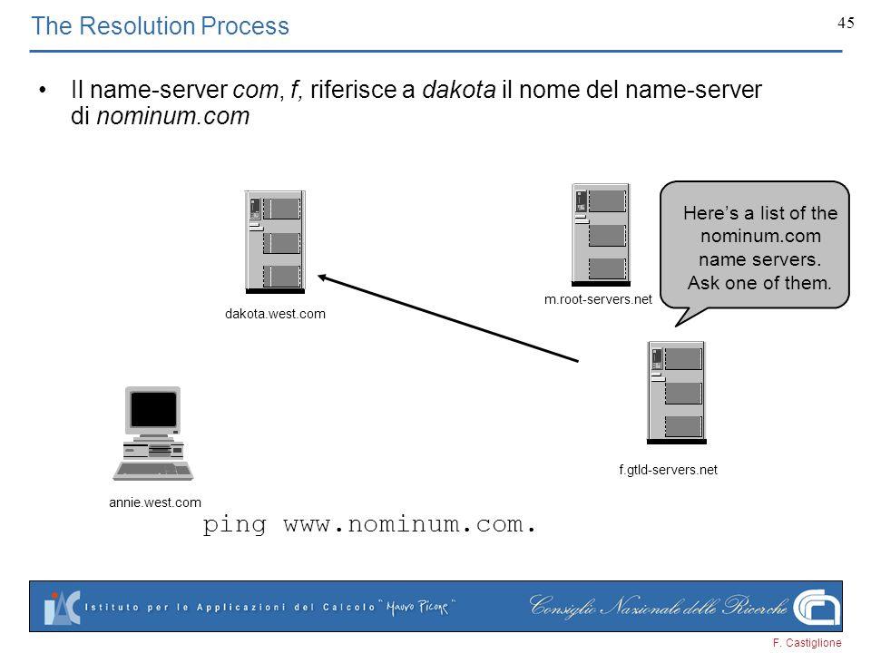 F. Castiglione 45 The Resolution Process Il name-server com, f, riferisce a dakota il nome del name-server di nominum.com ping www.nominum.com. annie.