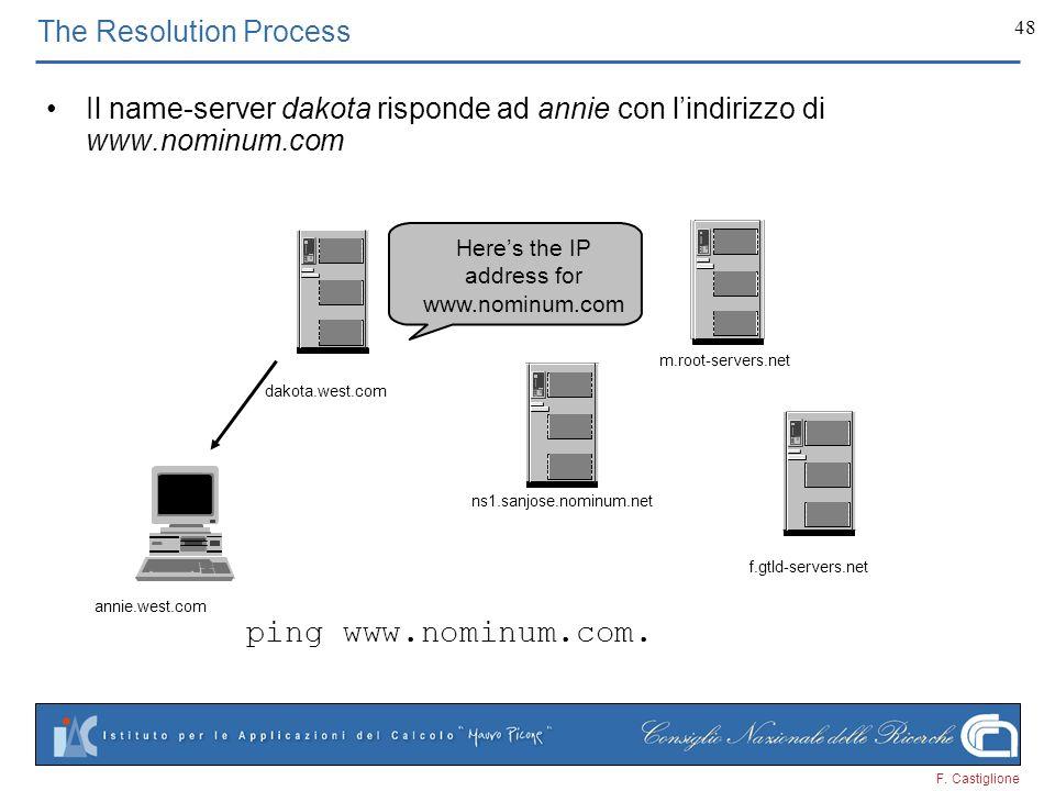 F. Castiglione 48 Heres the IP address for www.nominum.com The Resolution Process Il name-server dakota risponde ad annie con lindirizzo di www.nominu
