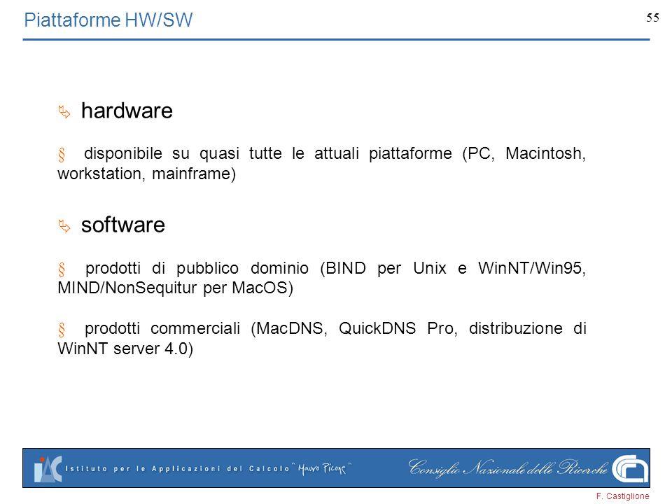 F. Castiglione 55 Piattaforme HW/SW hardware disponibile su quasi tutte le attuali piattaforme (PC, Macintosh, workstation, mainframe) software prodot