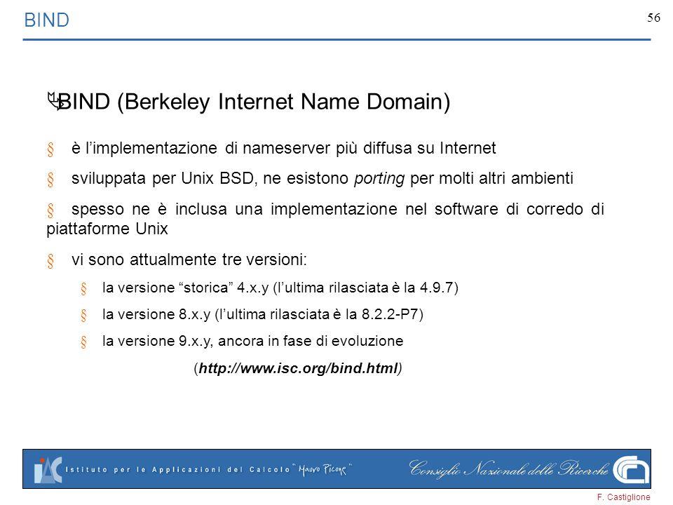 F. Castiglione 56 BIND BIND (Berkeley Internet Name Domain) è limplementazione di nameserver più diffusa su Internet sviluppata per Unix BSD, ne esist