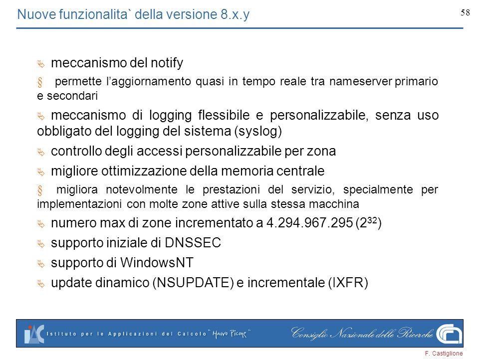 F. Castiglione 58 Nuove funzionalita` della versione 8.x.y meccanismo del notify permette laggiornamento quasi in tempo reale tra nameserver primario