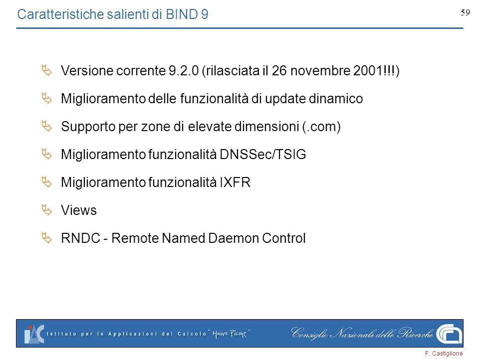 F. Castiglione 59 Caratteristiche salienti di BIND 9 Versione corrente 9.2.0 (rilasciata il 26 novembre 2001!!!) Miglioramento delle funzionalità di u